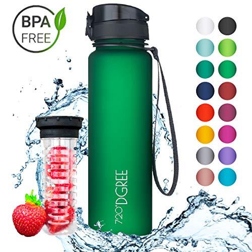 """720°DGREE Trinkflasche \""""uberBottle\"""" - 1 Liter, 1000ml, Grün, Gruen   Neuartige Tritan Wasser-Flasche   Water Bottle BPA Frei   Ideale Sportflasche für Kinder, Fitness, Fahrrad, Sport, Fussball"""