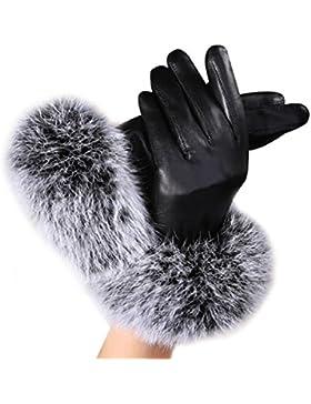 Tongshi Mujeres Guantes de cuero de Invierno Otoño guantes de piel de conejo Warm Mittens