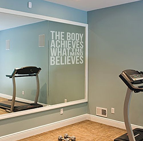 Preisvergleich Produktbild Der Körper erreicht Motivational Etch Effekt Vinyl Aufkleber Zitat für Gym Spiegel/Glas Fitness Gesundheit, leicht anzubringen., Vinyl, 57cm x 60cm