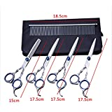 PENVEAT Pet Hair Cut Colorful Scissors Clippers Flat Tooth Cut Pets Beauty Tools Set Kit Dogs Grooming Hair Cutting Scissor Set,B