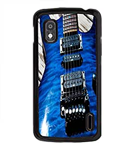 Fuson Premium 2D Back Case Cover BLUE STYLISH GUITAR With Others Background Degined For LG Google Nexus 4
