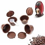 Kaffee-Kapseln-Tassen-Filter mit 1 Kunststoff-Löffel, 4 Stück, nachfüllbar