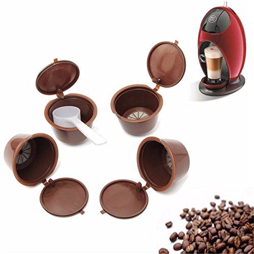 ECYC 4 Stück nachfüllbar Kaffee Kapsel Pod Cup Filter mit 1 Stück Kunststoff Löffel
