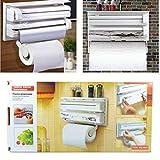 White & Creem Amazing Triple Paper Dispenser For Cling Film Wrap Kitchen Roll 3 level