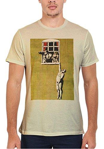 Banksy Naked Man Husband and Wife Cool Men Women Damen Herren Unisex Top T Shirt Sand(Cream)