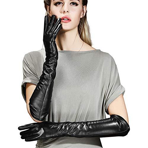 QETYT® Leder-Damen Lange Handschuhe, Winter Schwarz Lange Dicke Touchscreen Warme Armhülse (45Cm),S -