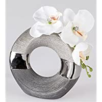 Deko Vase LUXOR Rund D. Ca. 18cm Silber Grau Keramik Formano