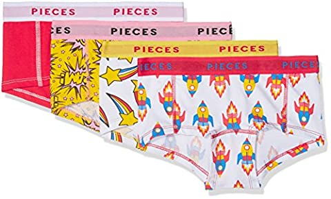 PIECES Pclogo Lady Boxers 14-200 Space 4pack, Shorties Femme, Multicolore