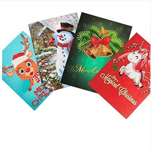 Diamant Malerei Weihnachten Grußkarten Diamant Mosaik Cartoon Mini Weihnachtsmann Frohe Weihnachten Papierkarten Handwerk Geschenk Runde Bohrer 45x60cm