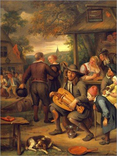 Posterlounge Forex-Platte 100 x 130 cm: Die Drehleier-Spieler von Jan Van Kessel/Bridgeman Images