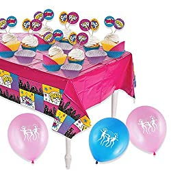 Superhero Girls Cupcake Party Pack with Large super hero tablecloth and 50 Superhero Cupcake Liners with Picks