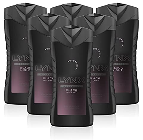 Lynx Black Night Shower Gel Mens Body Wash, 250ml (6 Pack)
