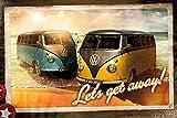 VW Camper Camper Van Poster Let's Get Away (91,5cm x 61cm) + 2 St. Transparente Posterleisten mit Aufhängung