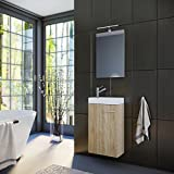 Planetmöbel Badmöbel Set Gäste WC Gäste Bad Waschtischunterschrank Spiegel mit LED Leuchte Waschbecken 40 cm (Sonoma Eiche)