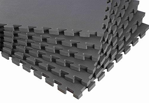 BodenMax® CRS804913 -12 Dicke Puzzle-Matten Fußmatten EVA TÜV Schaumstoff Schutzmatten Dunkelgrau 60x60x2,5 cm (12 Stück)