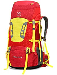 70L+10L Multifunciona Senderismo Trekking de Viaje Mochilas de Marcha Impermeable para deporte aire libre Rojo