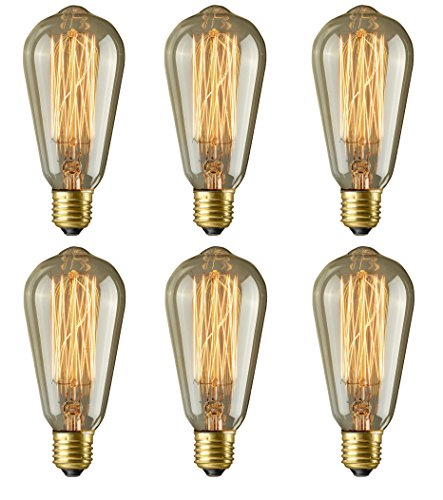 Vintage Edison Bulbs, Morntek 40W Dimmable Antique Incandescent Filament Light Bulbs for Pendant Lighting, Wall Sconces, Ceiling Fan and Chandeliers - 130 Lumens, 6 Pack