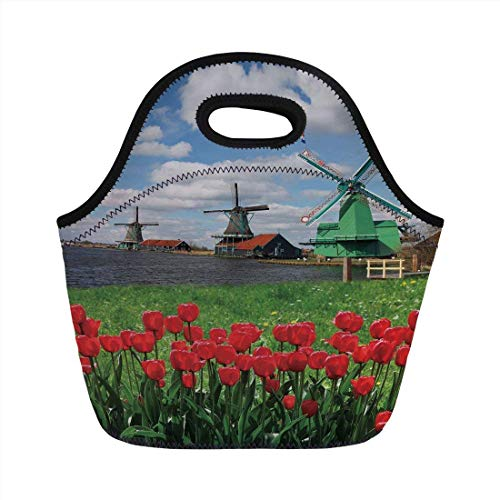 Portable Bento Lunch Bag,Windmill Decor,Traditional Dutch Windmills with Red Tulips in Amsterdam Scenic Field River Decorative,Multicolor,for Kids Adult Thermal Insulated Tote Bags - Amsterdam Hobo