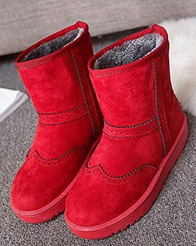 Minetom Donna Inverno Cotone Stivali Caldo Stivali Da Neve Antiscivolo Scarpe Piatta Stivali Brogue Stivali Rosso