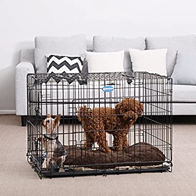 "FEANDREA Dog Puppy Cage Foldable Metal Pet Carrier 2 Doors with Tray 24"" 30'' 36"" 42'' 48'' (Alternative colors) from FEANDREA"