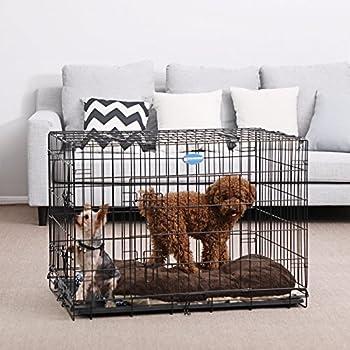 Songmics 2 Portes Cage pour chien pliable et transportable avec Poignées et Plateau 91 x 58 x 64 cm PPD36H