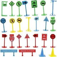 Sharplace 27 Unids Bloque de Calle Señales de Táfico de Simulación Juguete Educativo para Niños
