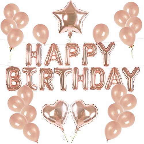 day Ballons Banner, Rosegold Luftballon Folienballons Buchstabenballons Luftballons Geburtstag, Latex Ballons, Elegante Party Supplies Deko für Frauen Kinder Baby Mädchen ()