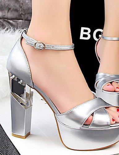 LFNLYX Chaussures Femme-Décontracté-Noir / Rouge / Blanc / Argent / Gris / Amande-Gros Talon-Talons / Bout Ouvert-Sandales-Similicuir White