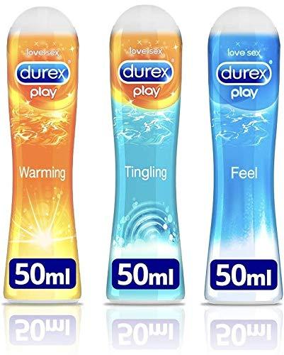 Durex Play Gleitgel Ausprobierpaket für Sie und Ihn mit 3 verschiedenen Artikeln (Play Feel, Play Wärmend, Play Prickelnd) 3er Pack (3 x 50ml)