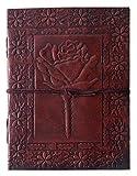 QualityArt Cuaderno Diario de Piel Bloc De Dibujo para Viaje En Blanco Libro 20.3 x 15.2cm Marrón