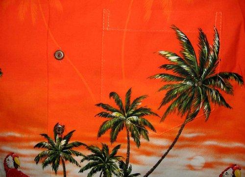 Pacific Legend | Original Hawaiihemd | Herren | S - 4XL | Kurzarm | Front-Tasche | Hawaii-Print | Papagei Palmen Blumen | Orange Orange
