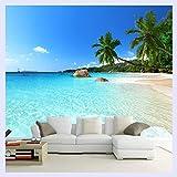 BHXINGMU Benutzerdefinierte 3D Fototapete Seascape Beach Palm Wandverkleidung Roll Für Wohnzimmer Schlafzimmer Hintergrundbild 220Cm(H)×300Cm(W)