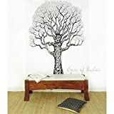 Eyes of India Weiß Hippie Indisches Mandala Baum Leben Wandteppich Picknick Unkonventionell Boho - Weiß, 54 X 84 in. (137 X 213 cm)