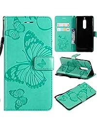 KKEIKO Nokia 5 Hülle, Nokia 5 Leder Handyhülle Schutzhülle [ mit Gratis Panzerglas Schutzfolie ], Schmetterling Muster Stoßsichere Lederhülle Brieftasche Case für Nokia 5 - Grün