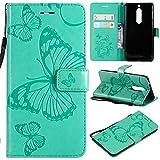 BoxTii® Coque Nokia 5 avec [Gratuit Protection D'écran en Verre Trempé], Etui en Cuir de Première Qualité avec Les Fentes de Carte et Stand pour Nokia 5 (#2 Vert)
