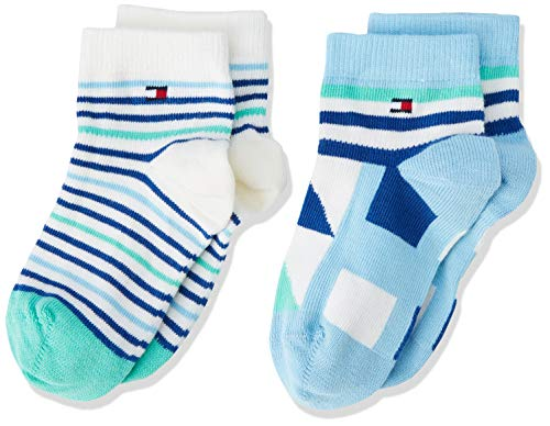 Tommy Hilfiger Tommy Hilfiger Unisex Baby TH BABY BOY SQUARES SOCK 2P Socken, 2per pack Mehrfarbig (blue combo 168), 19-22 (Herstellergröße: 19-22)