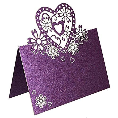 50pcs klassische Liebes-Herz-Tabellen-Karten-Hochzeits-Tabellen-Dekoration-Namen-Platz-Karten Partei-Bevorzugung (Lila)