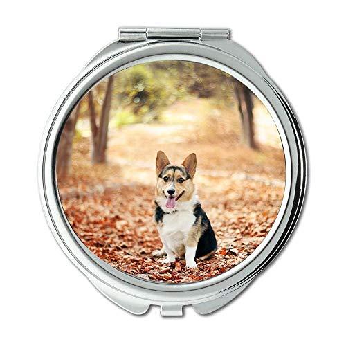 Yanteng Spiegel, runder Spiegel, niedlicher Mops Hund Corgi, Taschenspiegel, 1 X 2X Lupe - Cabrio Herz