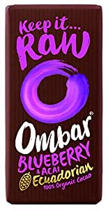 Ombar Superfood Chocolate Acai and Blueberry Organic Chocolate Bar 38 g (Pack of 5)