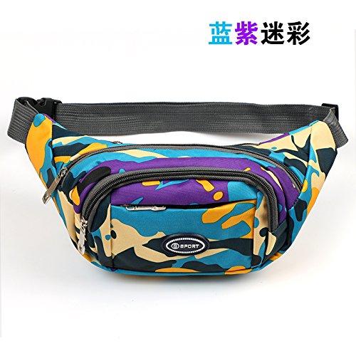 WXZB Sport Taille Tasche weibliche multifunktionale weibliche Leinwand Outdoor-Handy wasserdicht männlich Mini-Geschäft, Geld zu sammeln, blau und lila Camouflage