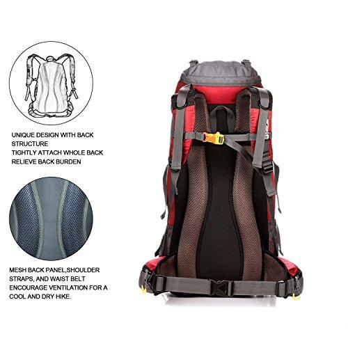 50L (45+ 5L) Wasserdicht Wandern Rucksack Unisex Sport Tagesrucksack mit Regenschutz für Trekking Radfahren Klettern Camping Rot