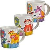 matches21 Süße Kindertassen Tassen/Becher für Kinder mit lustigen bunten Tiermotiven 3-tlg. Set aus Porzellan gefertigt, je 9 cm hoch / 300 ml