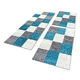 Shaggy Hochflor Teppich Carpet 3TLG Bettumrandung Läufer Set Schlafzimmer Flur, Farbe:Türkis, Bettset:2x60x110+1x80x250
