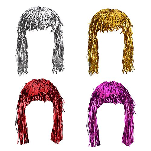 Sumind 4 Stück Foil Tinsel Perücken Maskenkostüm Glänzend Party Perücke für Cosplay Halloween, Metallic Gold, Silber, Rot und Rosa
