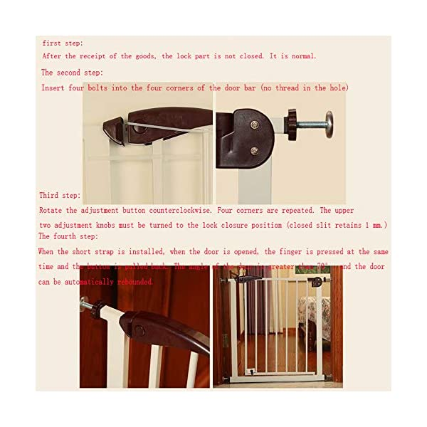 Child safety gate bar free punching stairs barrier baby baby stair railing kitchen pet dog guardrail (75-82cm) AA-SS-Safety Door ♥Squeeze and lift handle for easy one handed adult opening ♥Quick-release fittings for removal when not required ♥Includes stop pins for mounting at the top of stairs 5