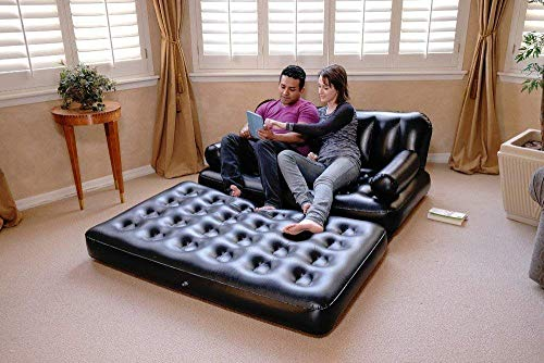 PAMIRATE- 5 in 1 Inflatable Three Seater Air Sofa Cum Bed with Free Electric Air Pump