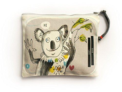 PEPPERMINTGREY Kulturtasche Kinder aus Canvas mit süßem Koala-Motiv, Schöne Geschenkidee für Kinder, 21 x 16 cm