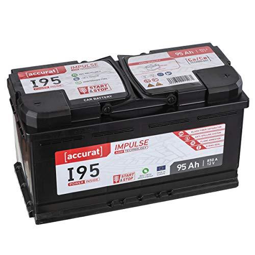 Accurat AGM Autobatterie I95 12V 95Ah 850A Starterbatterie für leistungsstarke Fahrzeuge mit Komfortausstattung, Start-Stop Automatik, wartungsfrei (Deep Cycle Agm Batterien)