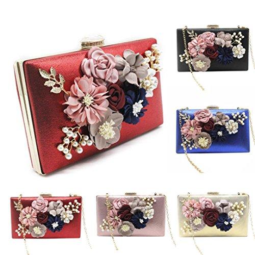 Envelope Clutch, Huhu833 Damen Elegante Blumenspitze Envelope Clutch Abend Prom Handtasche Rot