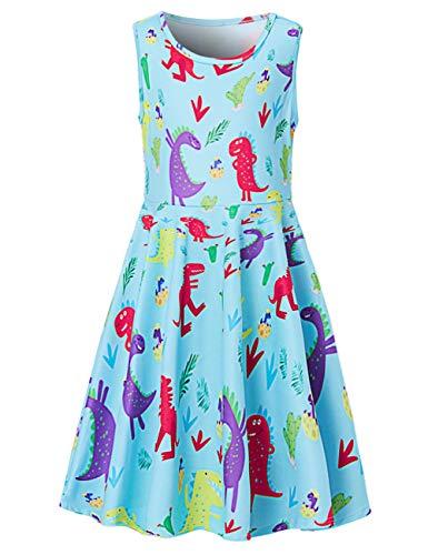 Fanient Mädchen Dinosaur Cactus Shirts Kleid Mädchen Bademantel Strandurlaub Geburtstag Kostüme 6-7 Jahre